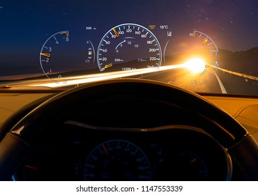 car ride by night ,car equipped with Head-up display