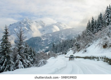 the car is riding in the snow mountains cowered high trees