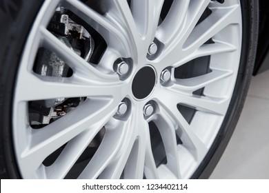 Car rim detail. Car wheel. selective focus.