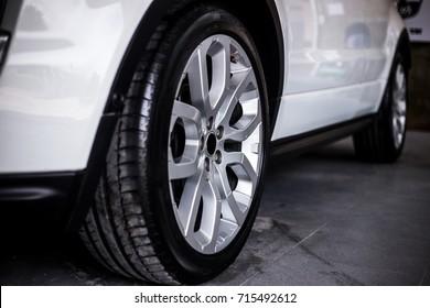 Car rim detail.Car wheel.selective focus.