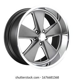Car Rim Isolated on White Background. Modern Auto Parts. Polished Chrome Automobile Racing Wheels. Black and Stainless Steel Alloy Wheel Rim. Truck Aluminum Auto Wheel Front Side View