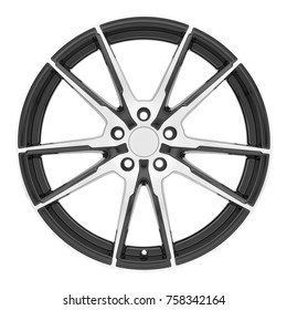 Car Rim Isolated on White Background. Front View of Alloy Car Wheel Rim. Truck Aluminum Wheel. Steel Wheels. Polished Chrome Racing Wheels. Clipping Path