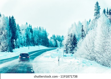 Car in the road at winter Lapland, Rovaniemi, Finland