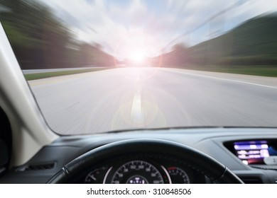 car running with speed on the street
