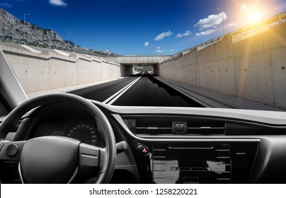 Car rushes along the highway. View from the first-person of the driver.