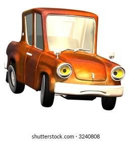 Car with a saddened face. Knallbunte varnishing, drives fast around the corner