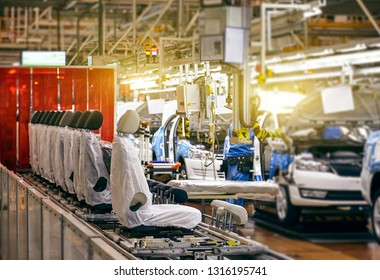 Car seat installation line in a car manufacturing plant