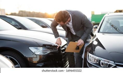 Car seller at work selling cars