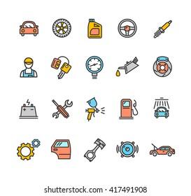 Car Service Icon Color Set. illustration