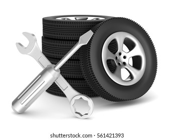 Car service on white background. Isolated 3D image.