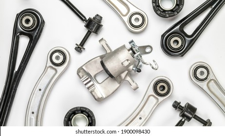 Car service tools. Set of new metal car part. Auto motor mechanic spare or automotive piece isolated on white background. Technology of mechanical gear with space for text