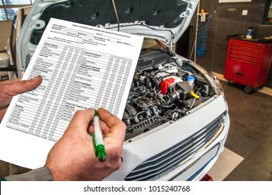car services / checklist when checking the technical condition of a car in a car service