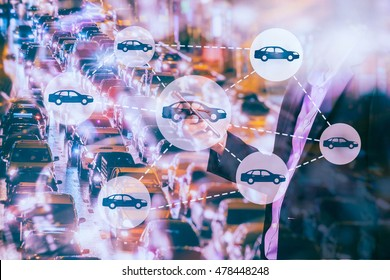 Car sharing concept. Sharing economy and collaborative consumption. Car sharing icons on Double exposure of  Business man using smart phone and city traffic at night. Cool tone.