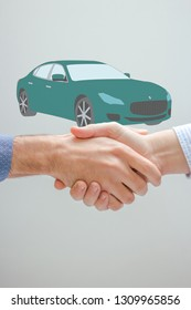 Car sharing concept. Successful handshaking of two men and car sketch in the background.