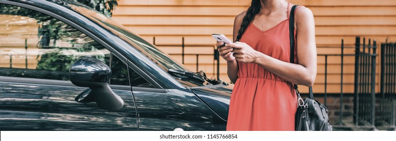 Car sharing rideshare mobile phone app woman using smartphone online to rent on travel holiday. Banner panorama. Technology device.