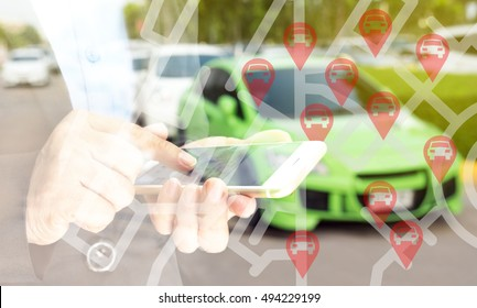 Car sharing service or rental concept. Sharing economy and collaborative consumption. Double exposure of business man holding mobile phone and use application to call car with blur background