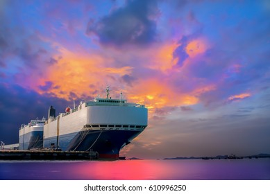 car shipping out of trade port in thailand sky blue beautiful background