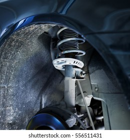 car shock-absorber in repair station of vehicles