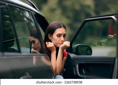 Car Sick Travel Woman with Motion Sickness Symptoms. Adult feeling nauseated after traveling with an automobile