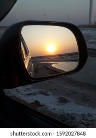 Car Side Mirror sunset view image of dawn