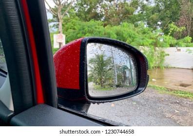 Car sidemirror raining season