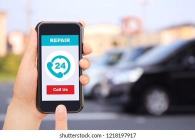 Car, smartphone, repair