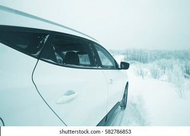 car in a snowy landscape nature white winter snow