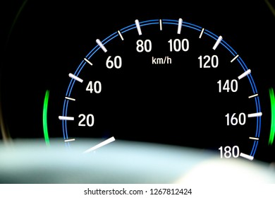 car speed meter on car dashboard