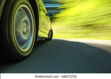 Car speeding.