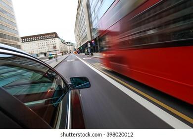 Car speeding in city of london