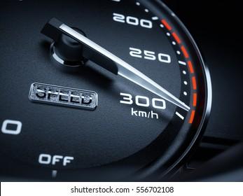 Car speedometer 3d rendering illustration. High speed concept