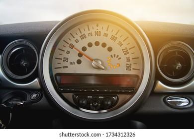 Car speedometer close-up. Modern car interior. Transport