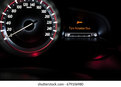 Car speedometer with information display - Tyre Rotation Due Info, Car Service Warning