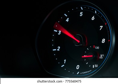 Car speedometer when accelerating. Pedal to metal.