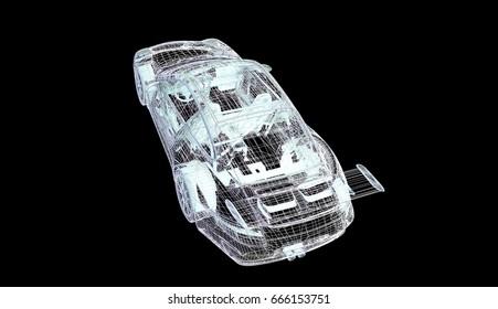 car sport model body structure, wire model 3d rendering