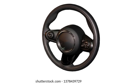 Car steering wheel, black technology, isolated from the white background