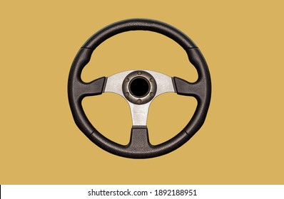 Car steering wheel, leather covered, button technology separated from reflection background clipingpart