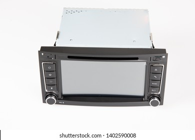 Car stereo radio set touch screen interface navigation and multimedia system control, interior modern car dashboard