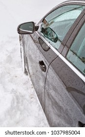 car stuck in snow. winter concept, bad weather