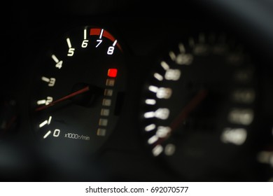 car tachometer focus on
