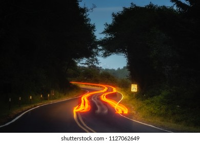 Car tail light trails on a winding road at night in forest.