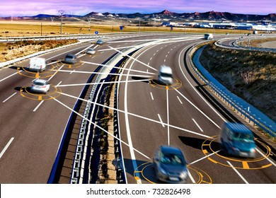 Car and technology. Autonomous car and self driving concept. Intelligent transport background