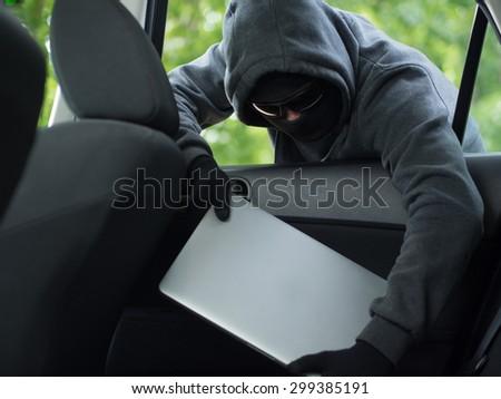 Car Theft Laptop Being Stolen Through Stock Photo (Edit Now