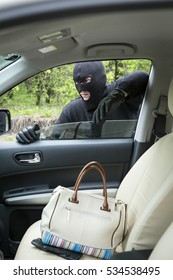 Car thief inside the car.