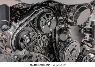 Car timing chain in cutaway engine
