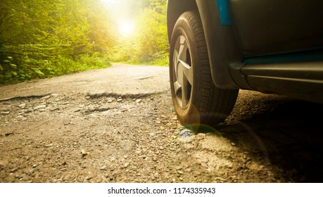 car tire and cracked damaged road in the autumn forest