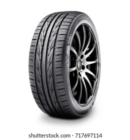 Car Tire Isolated on White Background. Semi-Trailer Rim. Racing Wheel. Black Rubber Truck Tyre. Clipping Path