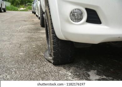 Car tire leak