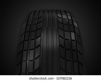 Car Tire on dark background