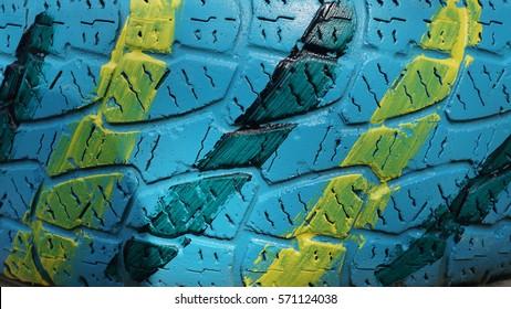 Car Tire Paint Creativity, close-up background